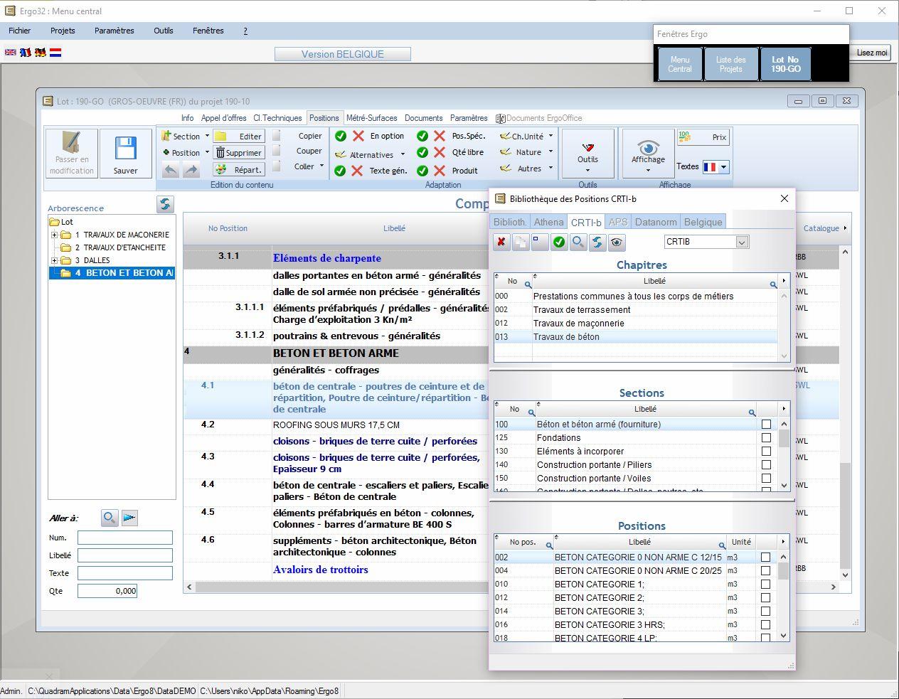 Capture d'écran de l'espace de travail Ergo Architecte